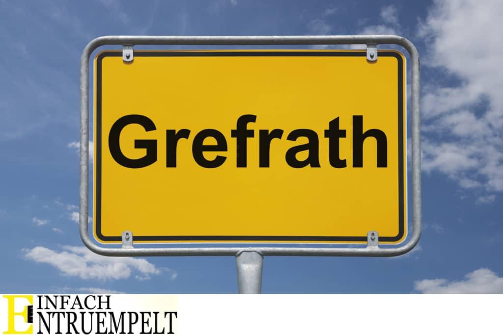 Entruempelung in Grefrath. Das Bild zeigt ein Ortseingangsschild von Grefrath.